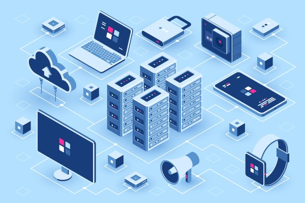 Computer technology isometric icon, server room, digital device set, element for design, pc laptop, mobile phone with smartwatch, cloud storage, flat vector illustration
